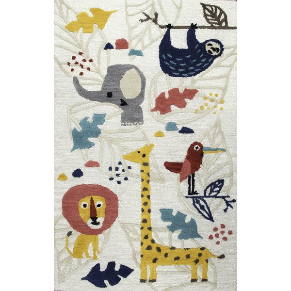 zoomie kids ashlee hand-tufted yellow/gray kids rug u0026 reviews | wayfair ULPFHLJ