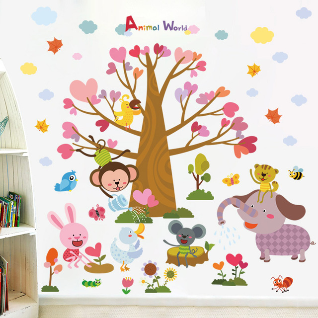 zooyoo diy animal tree planting children wall stickers for kids rooms AEYKKUF