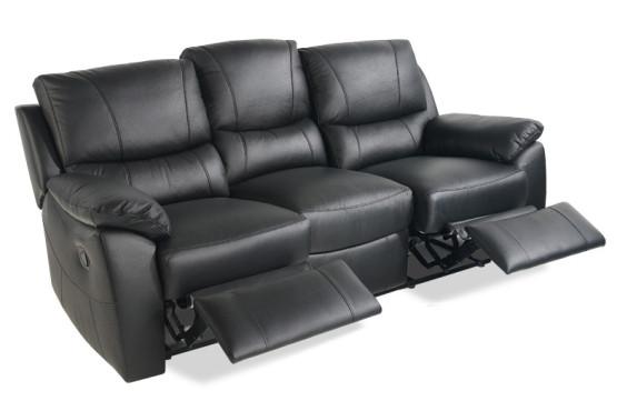Black 3 Seater Leather sofa New Valencia Cream Recliner Leather sofa