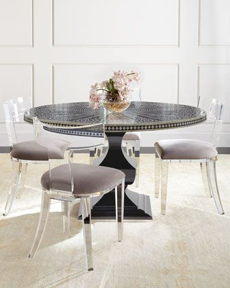Vivian+Inlay+Dining+Table+&+Nessy+Acrylic+Dining+Chair+by+Bernhardt+