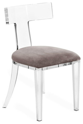 Upton Modern Classic Gray Velvet Acrylic Dining Chair - Modern