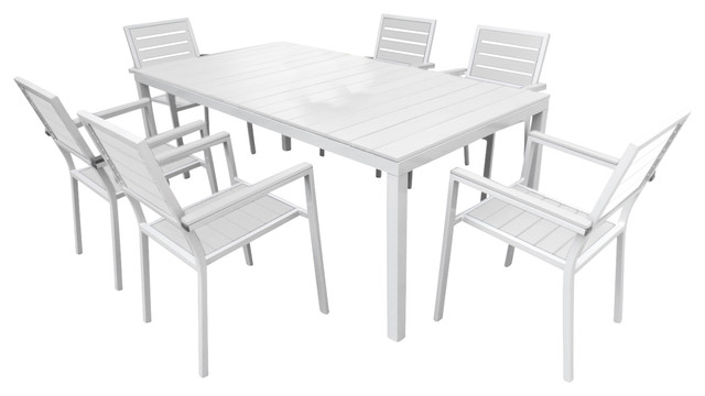 Outdoor Patio Furniture Aluminum Resin 7-Piece Dining Table and Chair Set