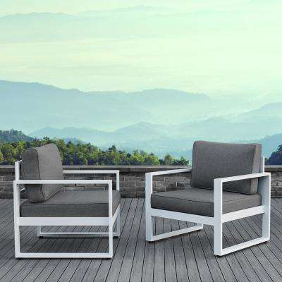 Baltic White 2 Piece Aluminum Patio Conversation Set with Gray Cushions