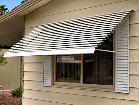 Horizontal 14-Slat White Aluminum Window Awning - 96