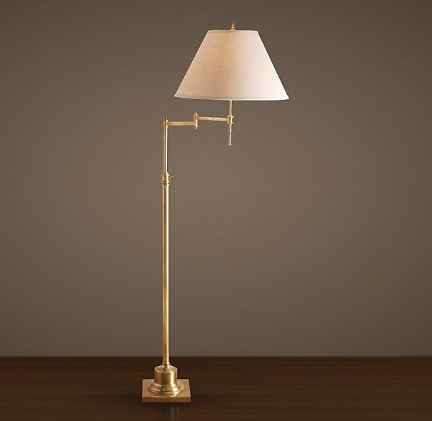 Library Swing-Arm Floor Lamp Antique Brass (available at RH Outlet for  $206!) - window nook