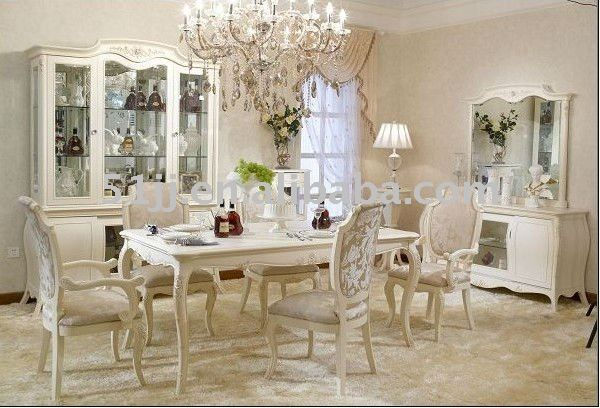 Antique French Provincial Off White Dining Room Set Furniture BJH