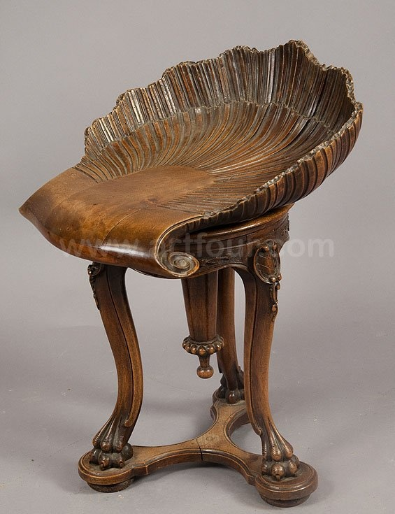 Grotto design ca. 1880 antique wooden carved walnut piano stool