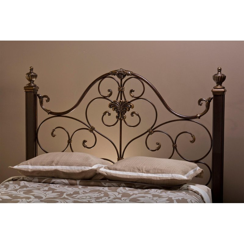 Antique Gold Queen Metal Headboard - Mikelson | RC Willey Furniture Store