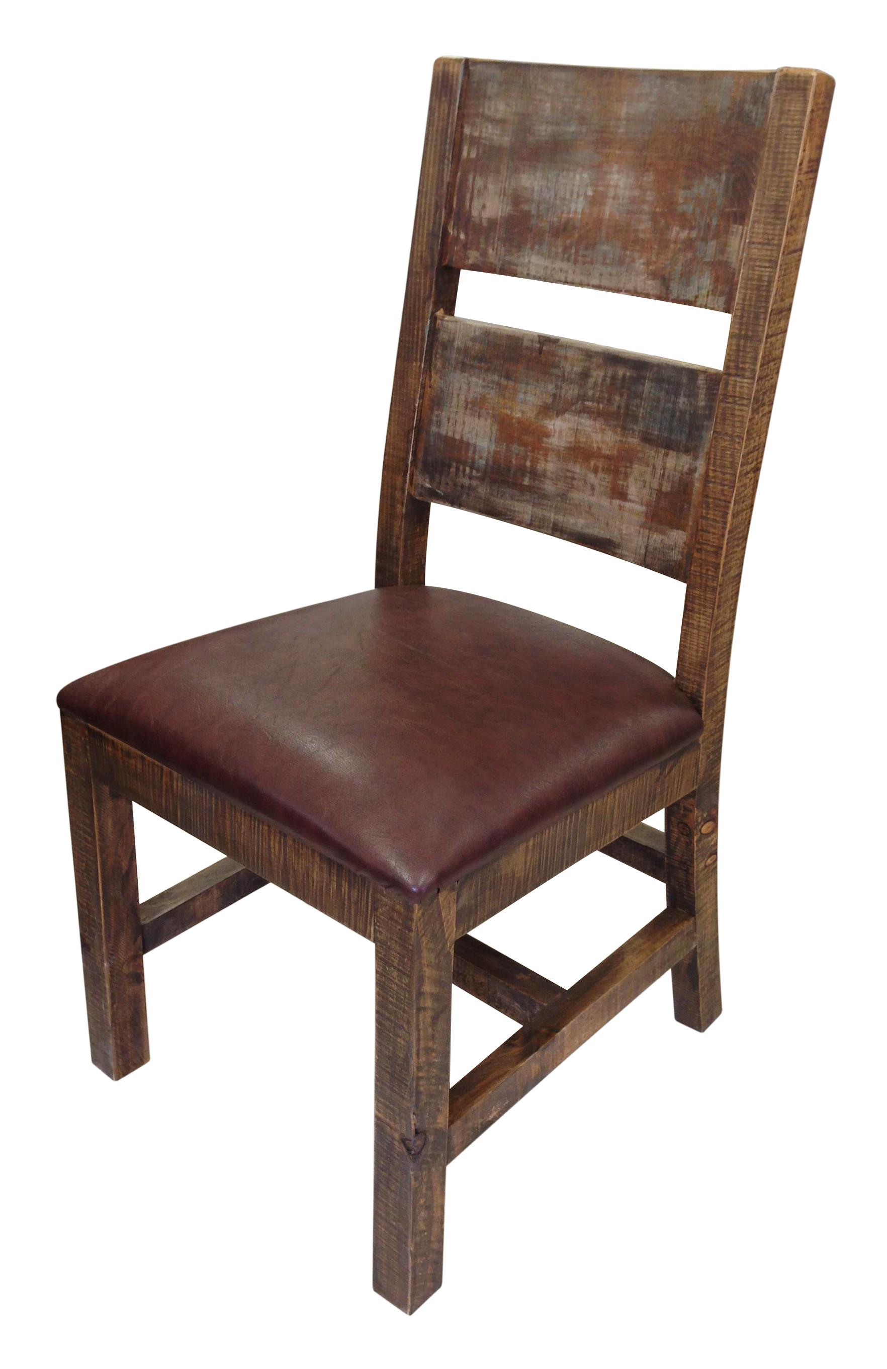 Solid Wood Chair with Bonded Leather Seat