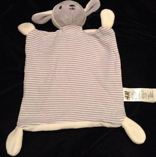 H&M Lamb Comforter Blanket Grey Cream White Sheep Soother Doudou