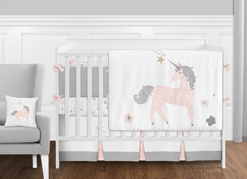 Pink, Grey and Gold Unicorn Baby Girl Crib Bedding Set with Bumper