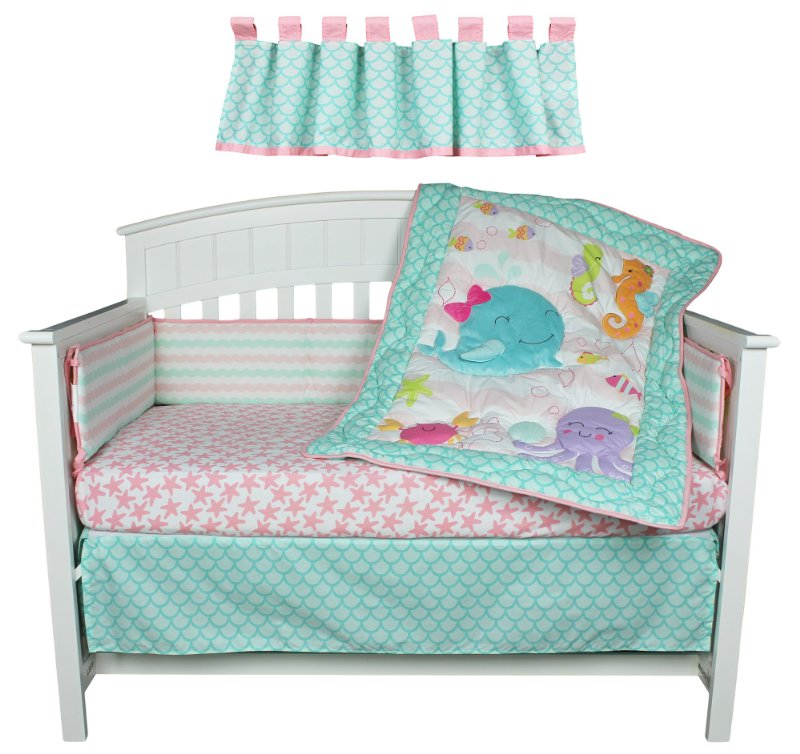 Bedding Sets Belle image - Sea Sweeties Pink and Blue Ocean 5 Piece Baby  Girl Crib