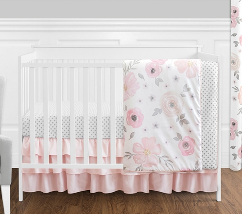 Blush Pink, Grey and White Watercolor Floral Baby Girl Crib Bedding Set