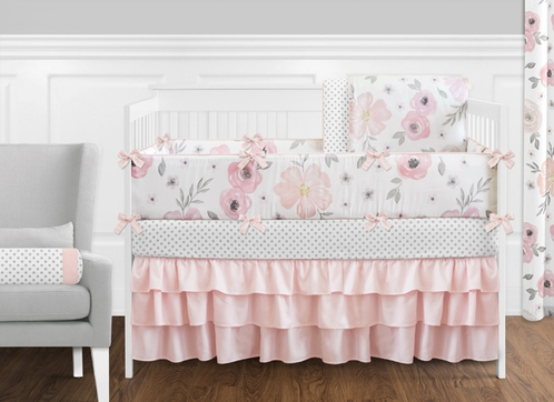 Blush Pink, Grey and White Shabby Chic Watercolor Floral Baby Girl Crib  Bedding Set with Bumper by Sweet Jojo Designs Rose Flower Polka Dot