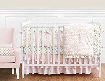 Traveller Location : Sweet Jojo Designs 9-Piece Blush Pink White Damask and Gold  Polka Dot Amelia Baby Girls Crib Bedding Set with Bumper : Baby