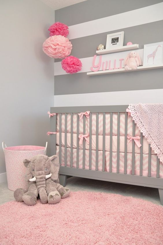Beautiful Stripes Baby Girl Room Decoration