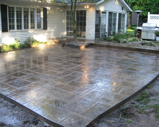 stain, Patio Stamped Concrete Design, Pictures, Remodel, Decor and Ideas    Concrete, patio ideas   Concrete patio, Patio, Patio design