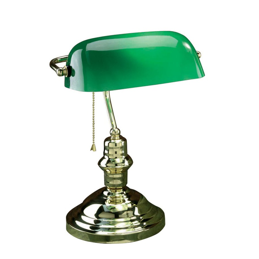 Lite Source 14.5-in Adjustable Brass Bankers Desk Lamp with Glass Shade