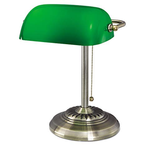Culver Led Traditional Bankers Lamp, Brass Base, Handmade Green Glass Shade,Vintage  Table