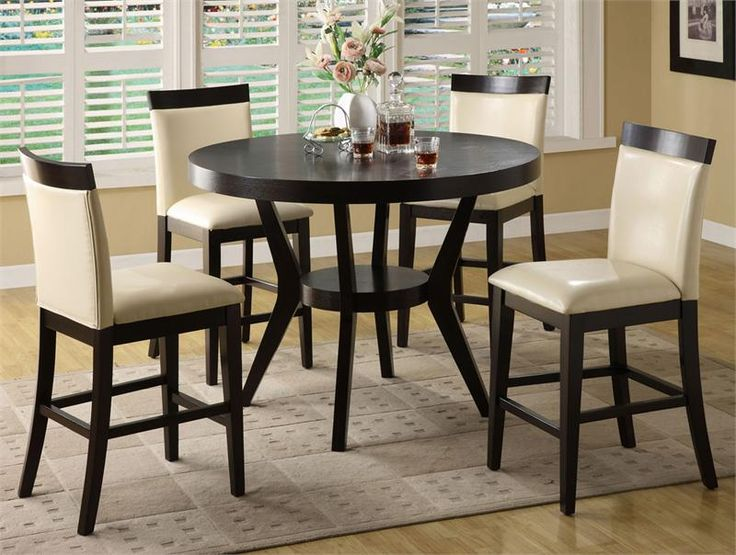 Image of: Bar Height Table And Chairs Dark Wood Round Counter