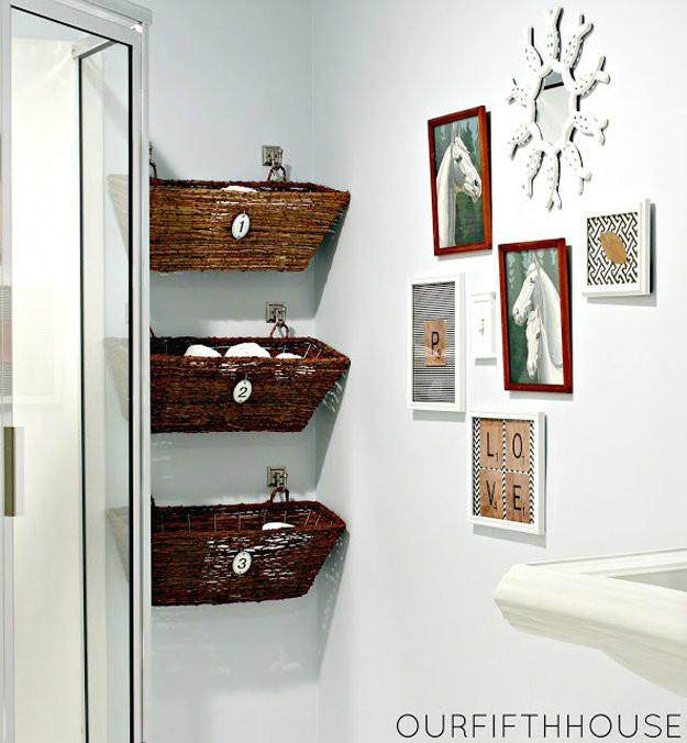 Hanging baskets on the wall and frame design | Bathroom Decorating Ideas On  A Budget