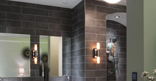 Recessed lighting in the bathroom.