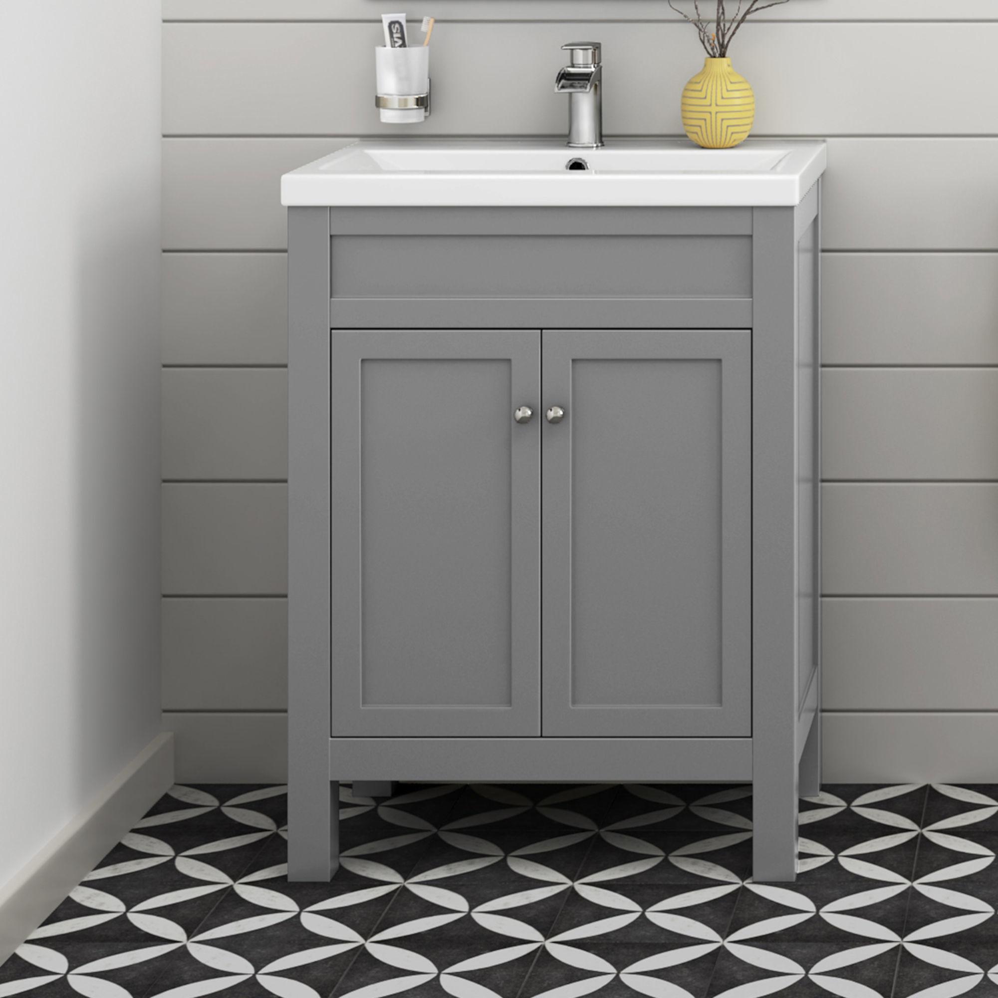 600mm Melbourne Earl Grey Double Door Vanity Unit - Floor Standing