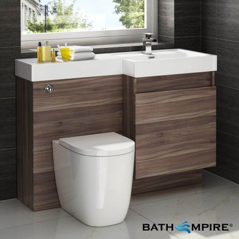 Outdoors Toilet with Unit - Light Walnut Combined Vanity Unit