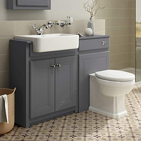 1100mm Combined Vanity Unit Toilet Basin Grey Bathroom Furniture