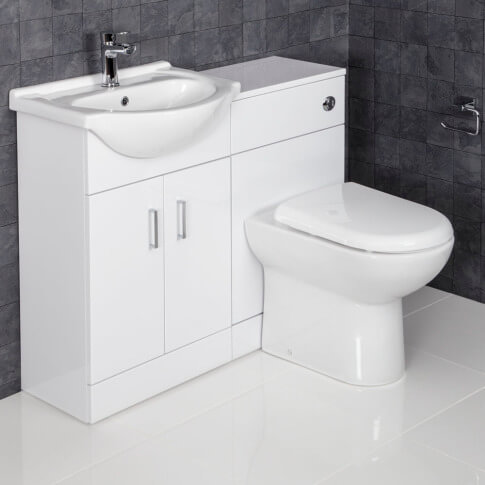 Essence White Gloss D-Shaped-Toilet & Basin Vanity Unit- 1050mm