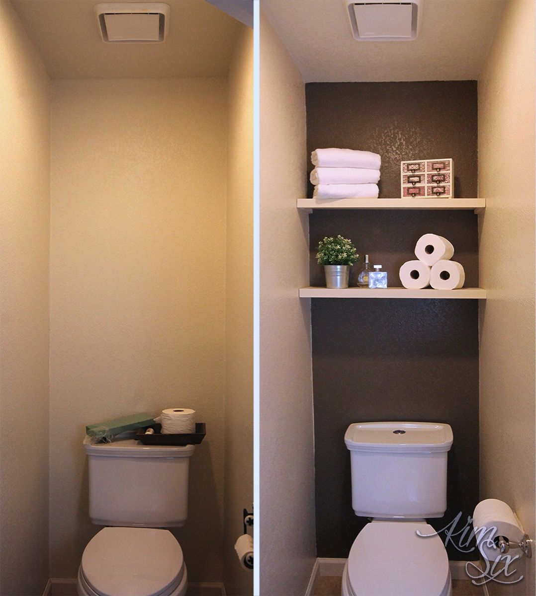 A dramatic water closet makeover with an accent wall and floating shelves  for storage! So easy and inexpensive!