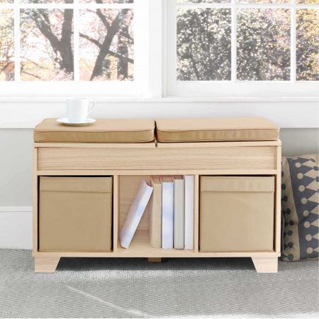 Real Simple 3-Cube Split-Top Bench Storage Unit as a bedroom reading nook