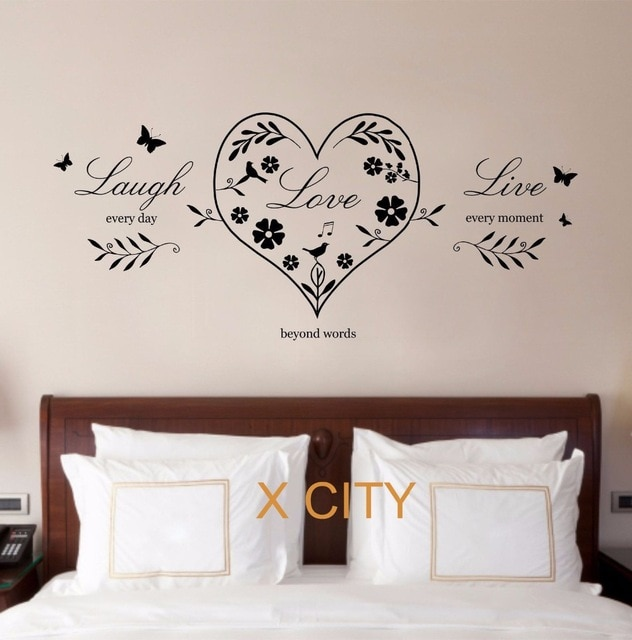 Live Laugh Love Heart Quote CREATIVE WALL ART STICKER REMOVABLE