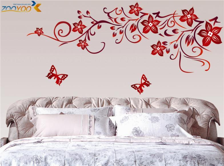 Dark Red Flower Wall Art Zooyoo1702 Living Room Diy Removable Wall