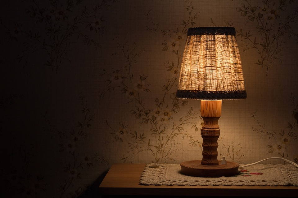 night table lamp light bedside table shining