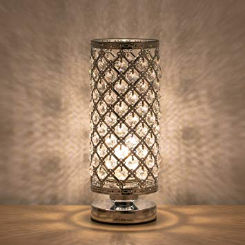 HAITRAL Crystal Table Lamp Modern Night Light Lamp with Metal Frame 110 Pcs  Crystals Elegant Bedside