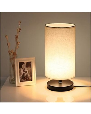 DEEPLITE Table Lamp with Fabric Shade Wooden Base with 7W 3000K LED Bulb, Bedside  Desk