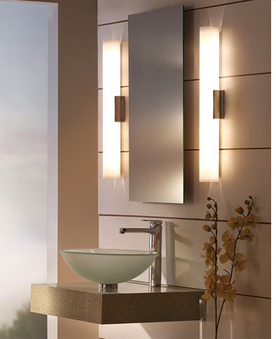 Left - Solace Bath Bar by Tech Lighting · Right - Tigris Oval Recessed  Mirror by Tech Lighting