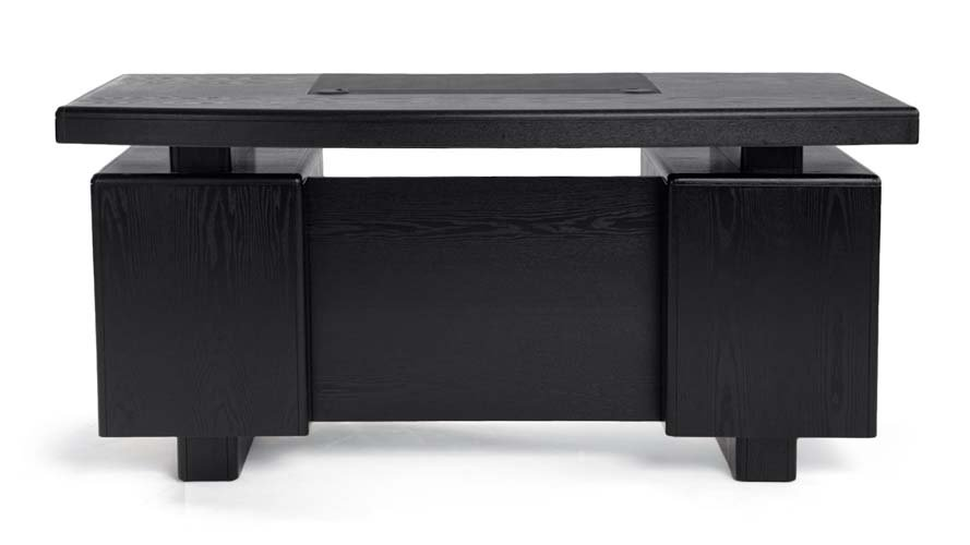Monroe Black Wood Modern Desk with Leather Pad and Storage | Zuri