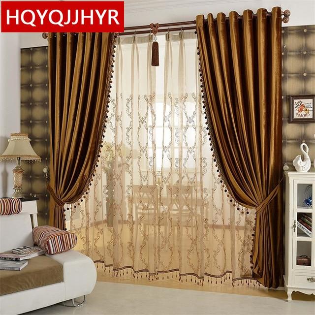 European luxury gold coffee velvet Blackout curtains for Living Room