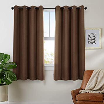 Amazon.com: Blackout Curtain 63 inch Long Bedroom Window Linen Look