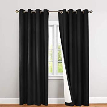 Amazon.com: Blackout Curtains Black 63 inch Bedroom Window Curtain