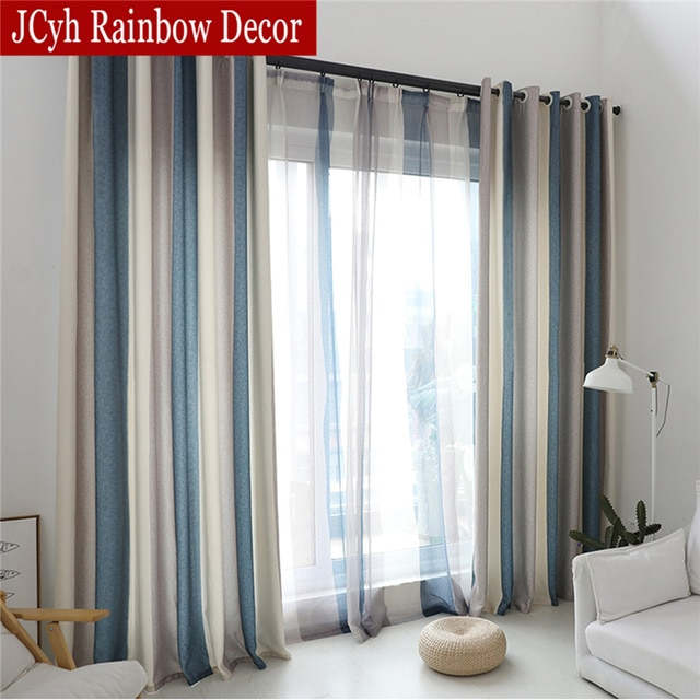 Modern Blue Stripe Blackout Curtains For Living Room Decoration
