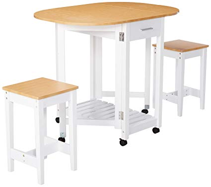 Basicwise QI003279.3 3 Piece Kitchen Breakfast Bar Set with casters, Drop  Down Island