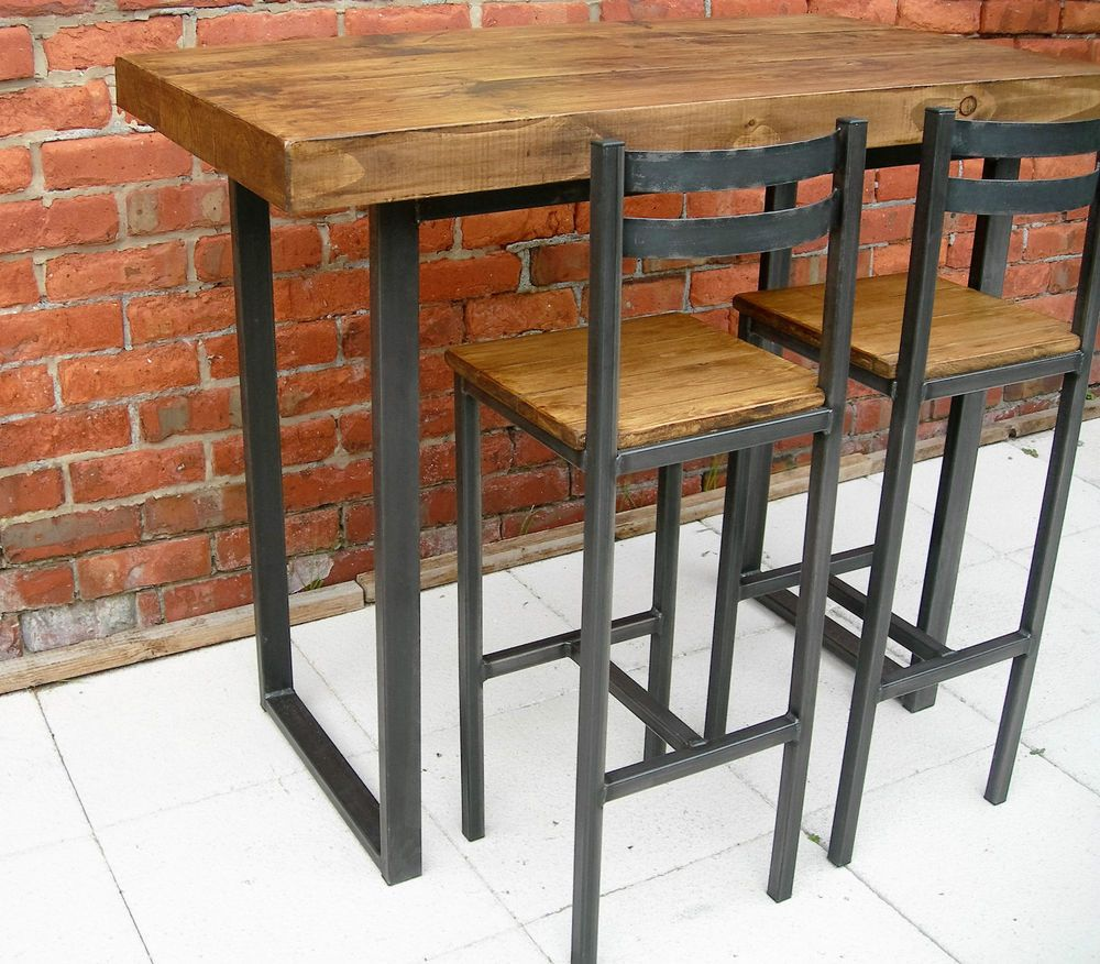 Breakfast bar table & two bar stools rustic industrial