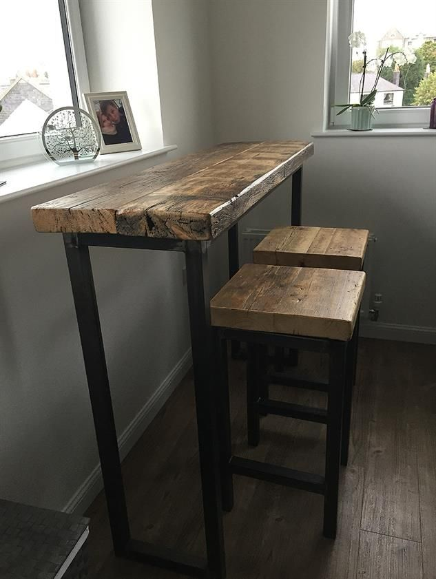 Industrial Mill Style Reclaimed Wood Breakfast Bar + Two Stools -  www.Traveller Location.uk