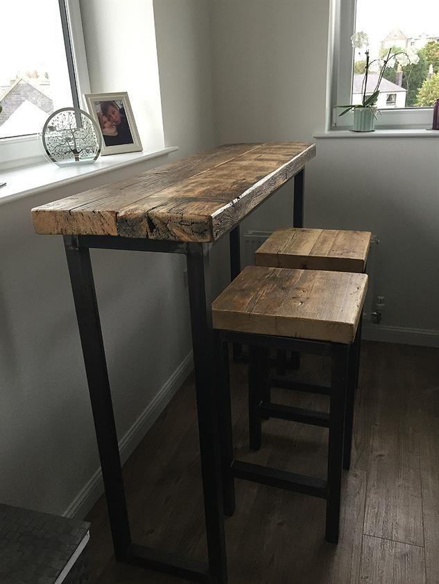 Industrial Mill Style Reclaimed Wood Breakfast Bar + Two Stools -  www.Traveller Location.uk