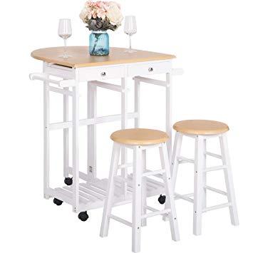 Amazon.com - Breakfast Cart With 2 Stools, JULYFOX Drop Leaf Kitchen