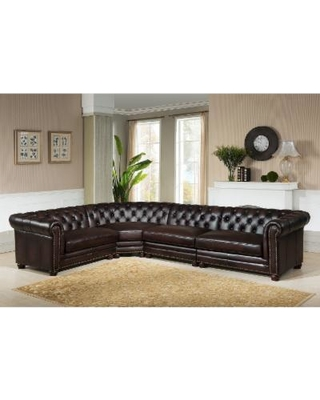 Choose the comfortable brown leather   tufted sectional sofa