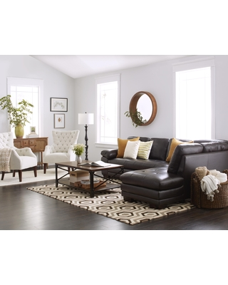Abbyson Devonshire Leather Tufted Sectional (Brown) (Foam)
